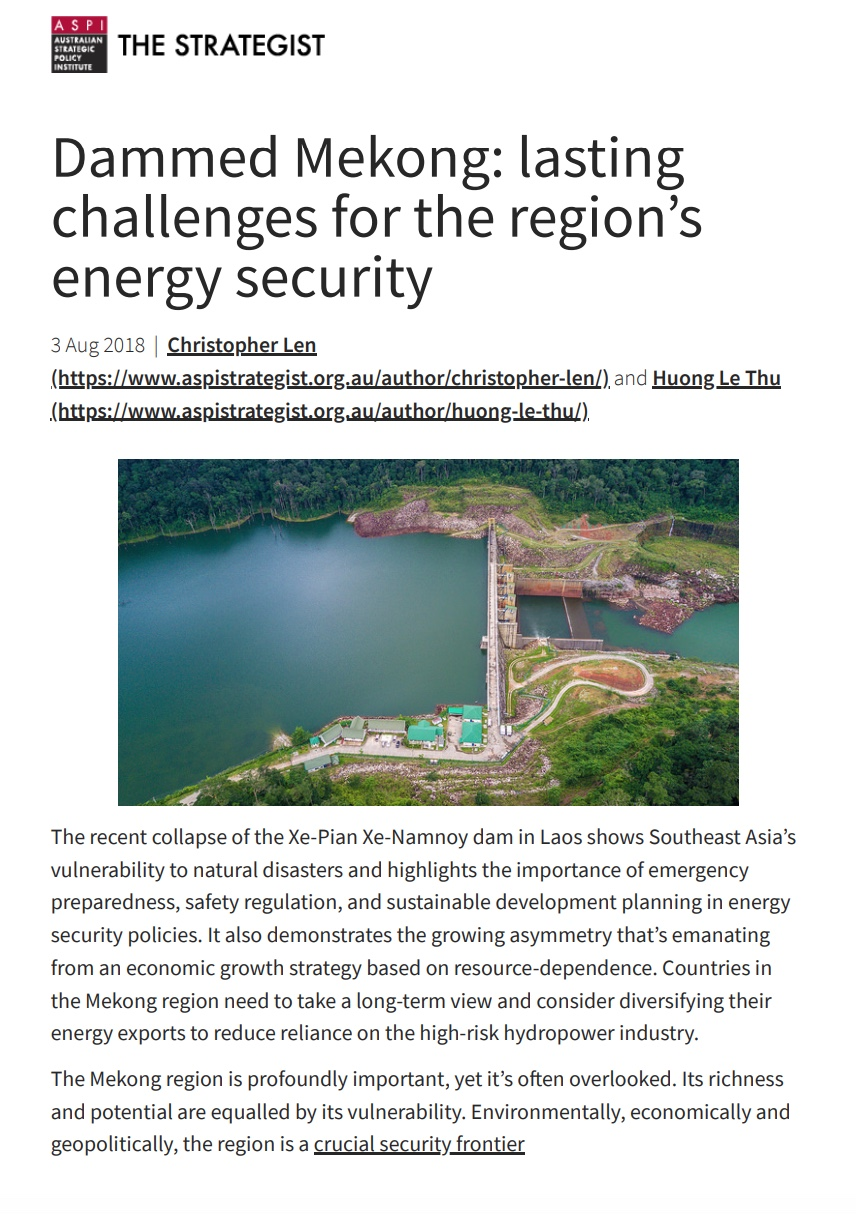 Dammed Mekong: lasting challenges for the region's energy security