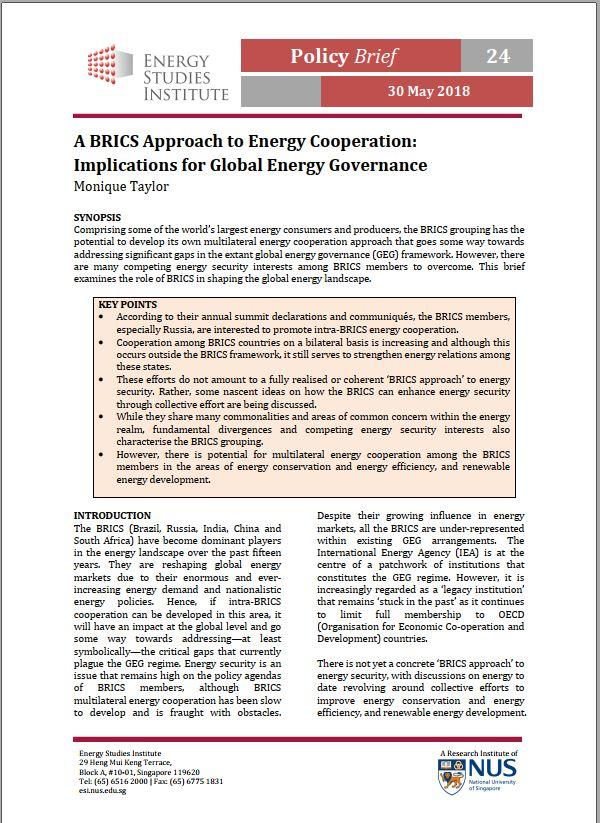 A BRICS Approach to Energy Cooperation: Implications for Global Energy Governance