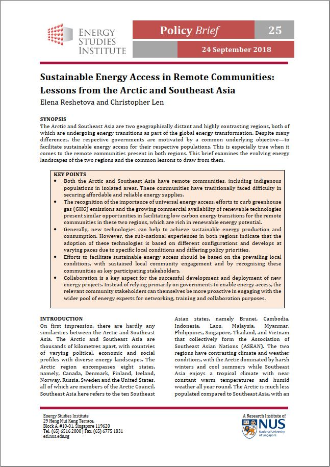 Sustainable Energy Access in Remote Communities: Lessons from the Arctic and Southeast Asia