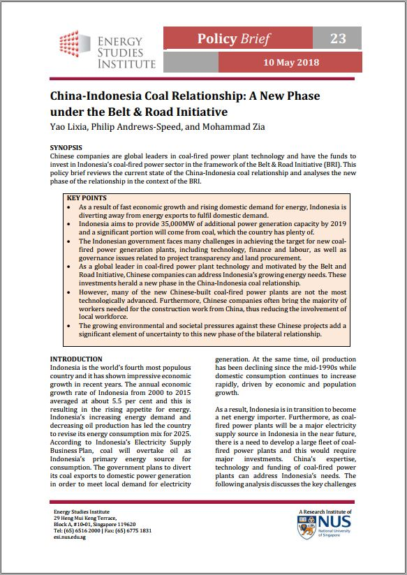 China-Indonesia Coal Relationship: A New Phase under the Belt & Road Initiative