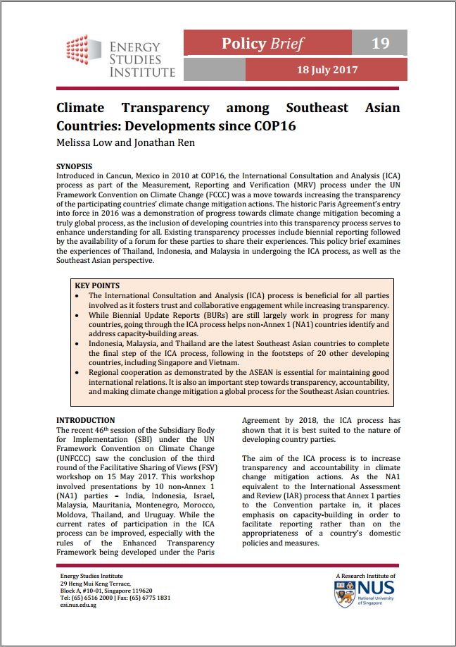 Climate Transparency among Southeast Asian Countries: Developments since COP16