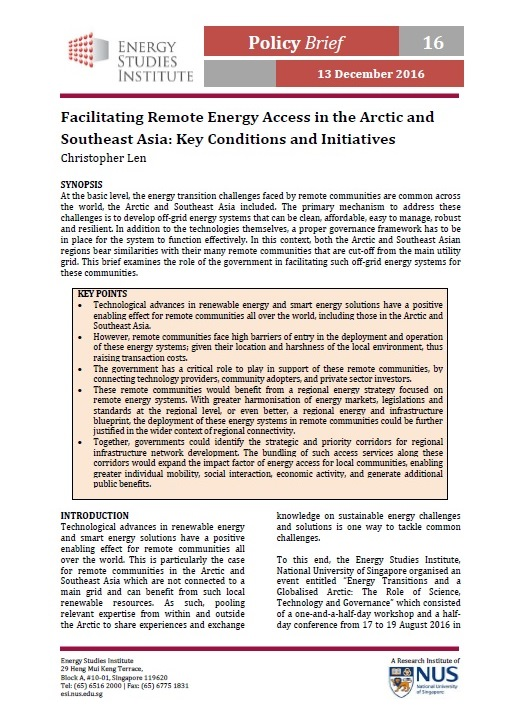 Facilitating Remote Energy Access in the Arctic and Southeast Asia - Key Conditions and Initiatives