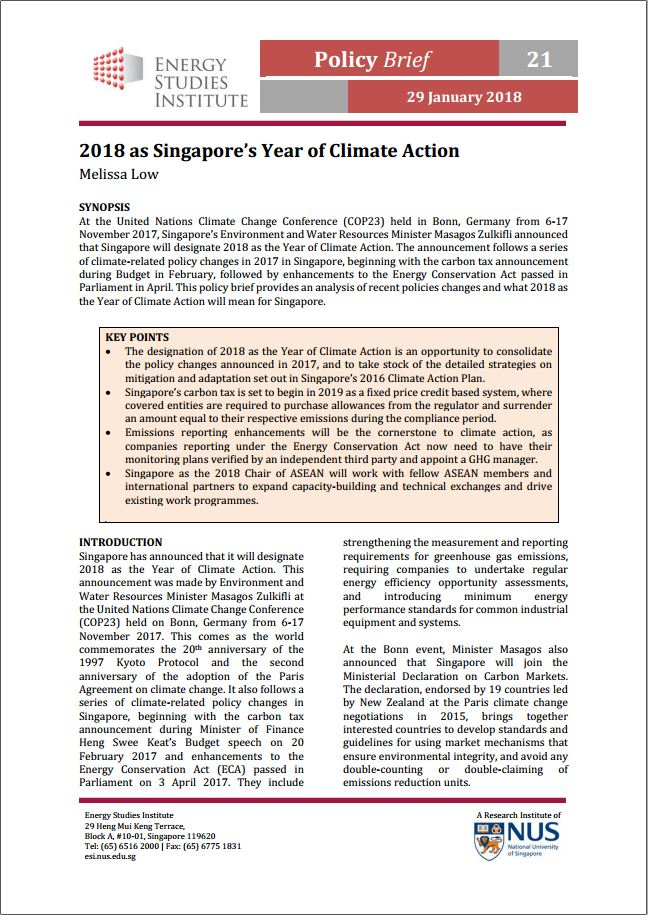2018 as Singapore's Year of Climate Action