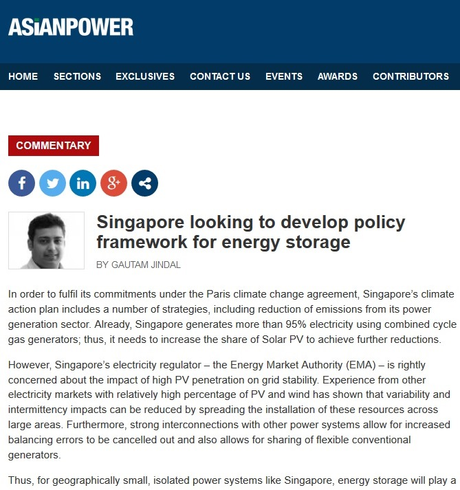 Singapore looking to develop policy framework for energy storage