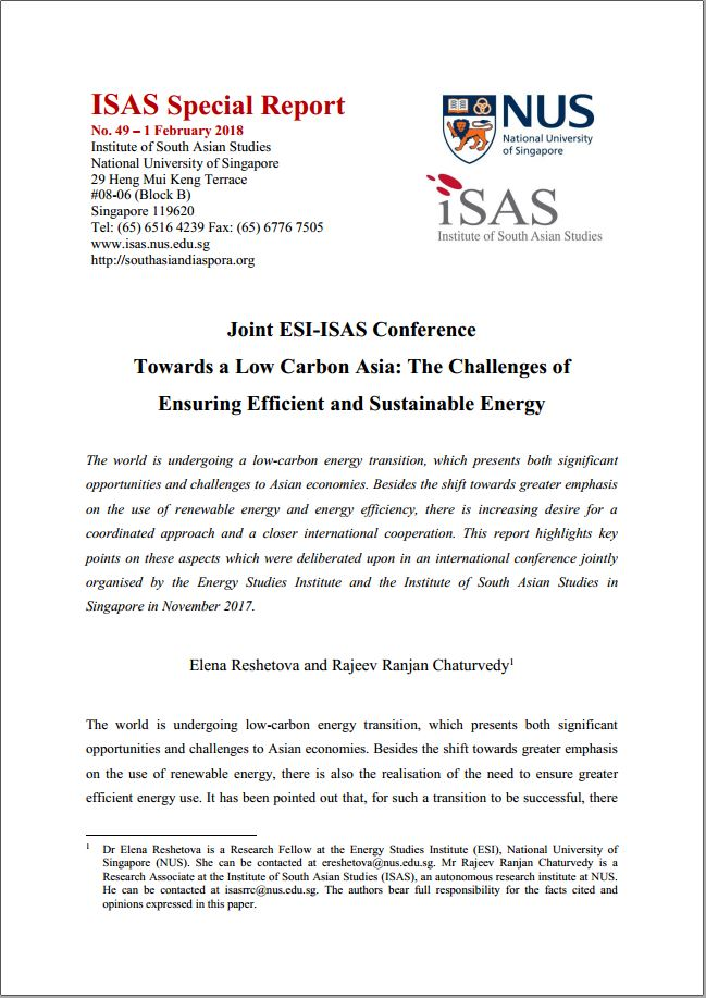Joint ESI – ISAS Conference Towards a Low Carbon Asia: The Challenges of Ensuring Efficient and Sustainable Energy