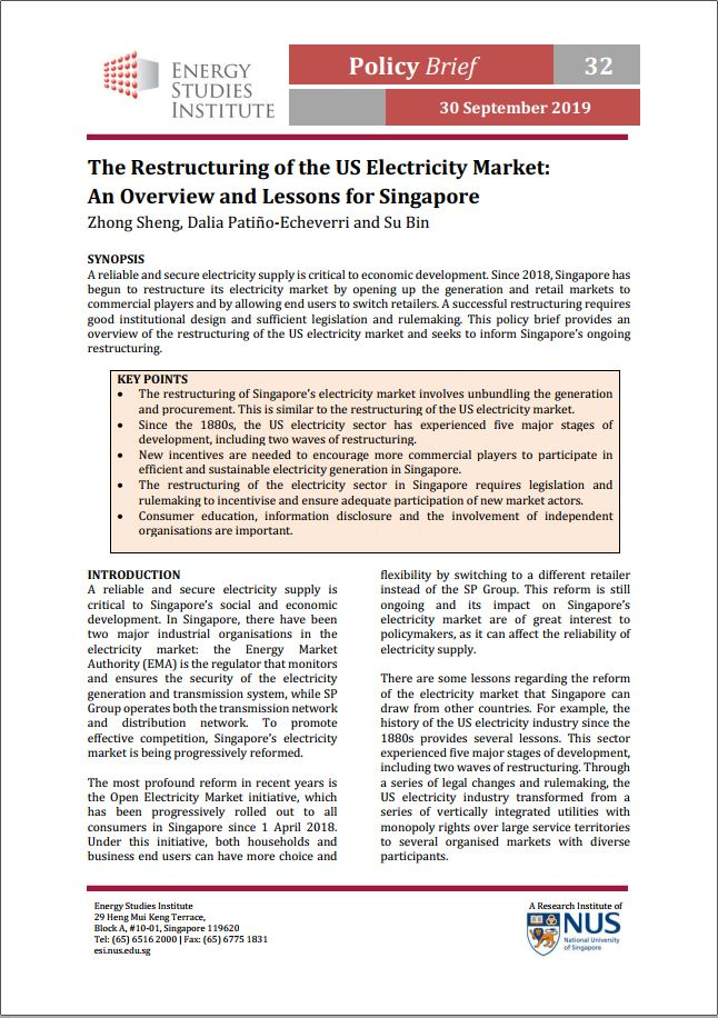 The Restructuring of the US Electricity Market: An Overview and Lessons for Singapore