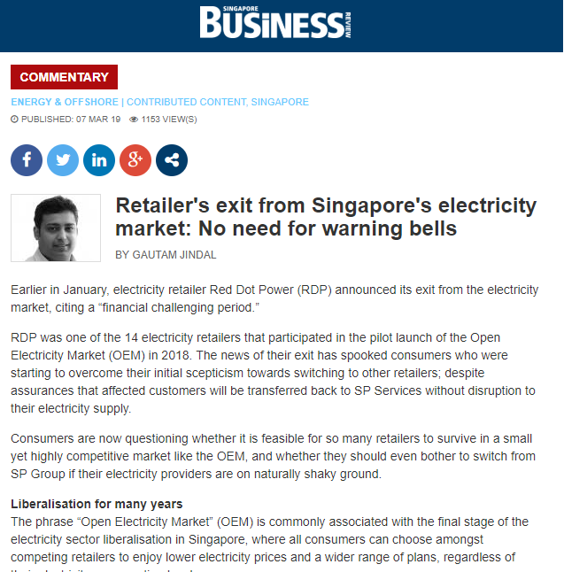 Retailer's exit from Singapore's electricity market: No need for warning bells