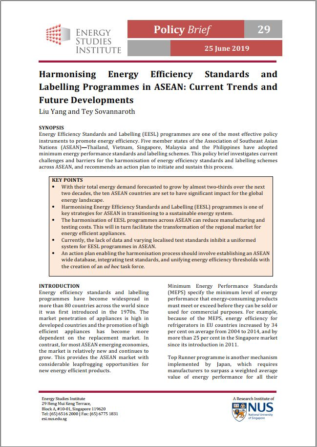 Harmonising Energy Efficiency Standards and Labelling Programmes in ASEAN: Current Trends and Future Developments