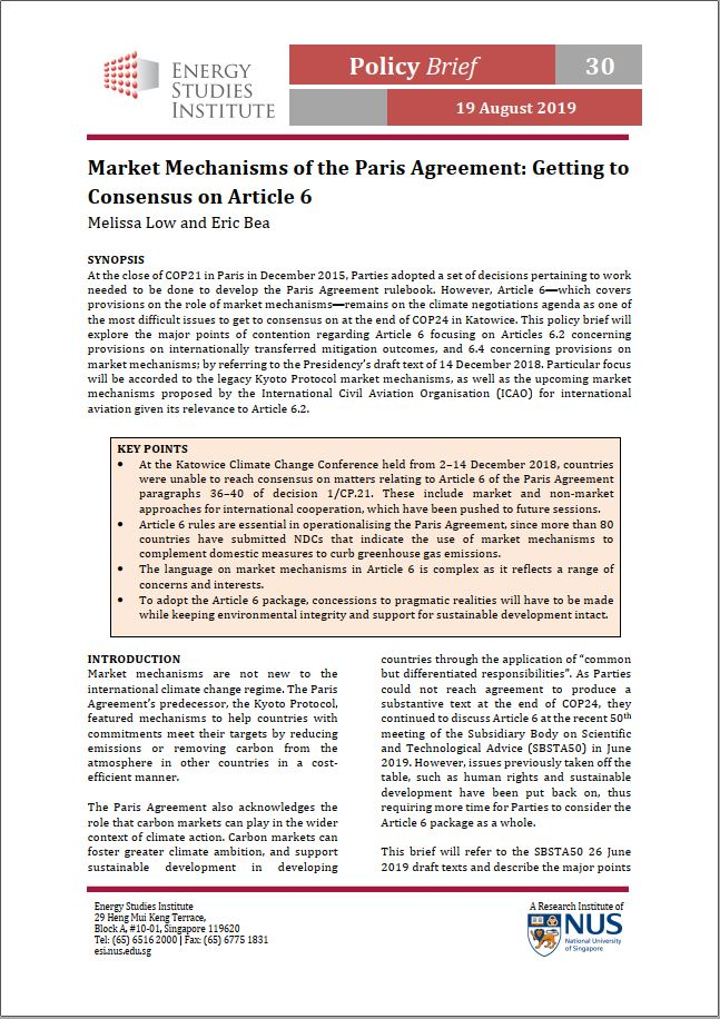 Market Mechanisms of the Paris Agreement: Getting to Consensus on Article 6